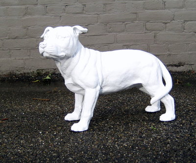 stafford dog polyester beeld hoogglans wit
