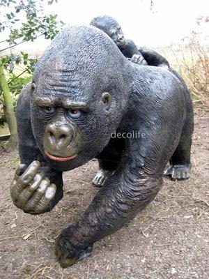 Aap gorilla met baby 120cm  polyester beeld €247