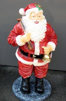 Kerstman staand met bel op voet 125cm