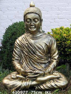 Boeddhabeeld Lotus - gebronsd