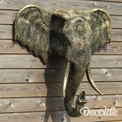Olifantenkop - wand decoratie - brons