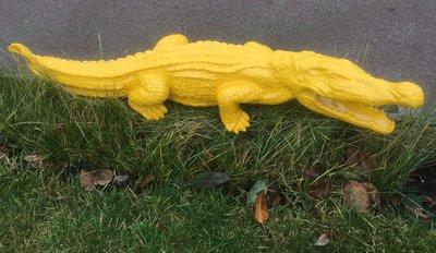 Krokodil beeld 110 x 23 cm geel hoogglans