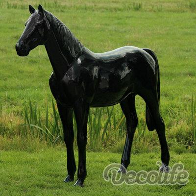 Levensgroot paard - hoogglans zwart