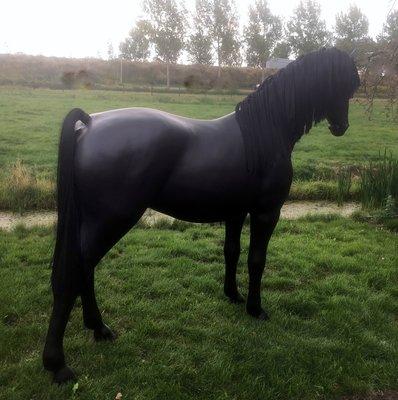 Levensgroot paard met kunstmanen en kunststaart -zwart