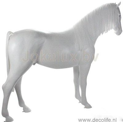Levensgroot paard met kunstmanen en kunststaart -wit schimmel