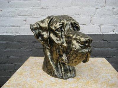 Deense Dog decoratie beeld Gebronsd 36cm