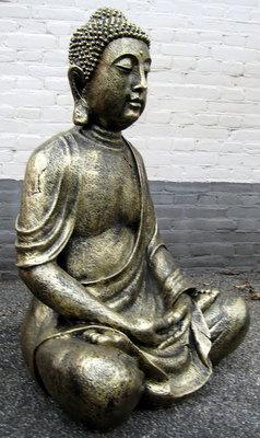 Boeddha Beeld Polyester gebronsd zittend