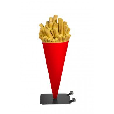 Rode frietzak reclame - op verrijdbare voet