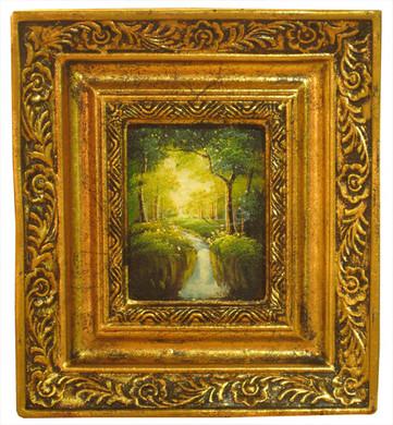 Schilderij incl. Lijst  - Landschap Waterval 20x18cm