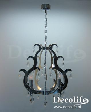 Lamp Milano Hanglamp Crome Crystal 90cm