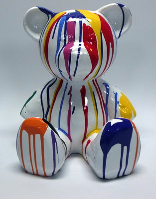 kunstbeeld Teddy Beer polyester zittend dripping