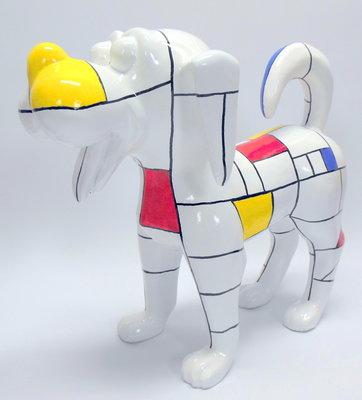 hond  woenzel mondriaan design kunstbeeld 40cm
