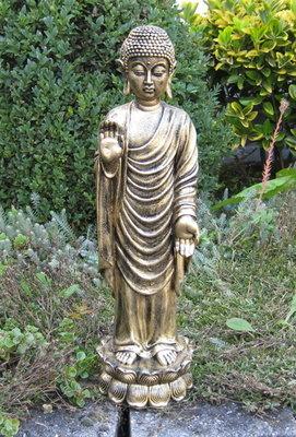 Boeddha Beeld Polyester Gebronsd 49cm