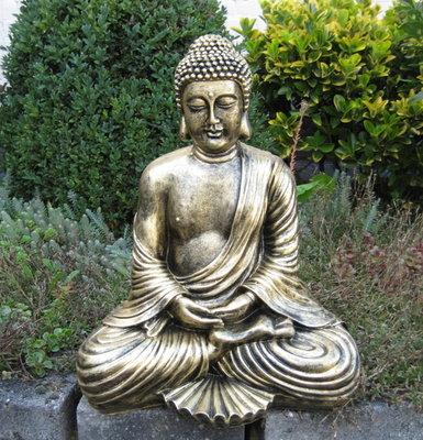 Boeddha Beeld Polyester Gebronsd 45cm