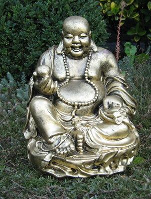 Boeddha Beeld Polyester old silver31cm