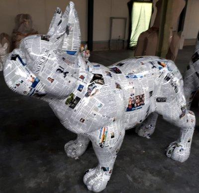 Polyester Franse Bulldog XXL pop art