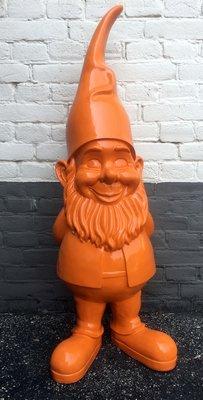 Kabouter-puntmuts-polyester-beeld-90cm oranje
