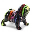 Engels bulldog Bobby kunst beeld zwart met dripping