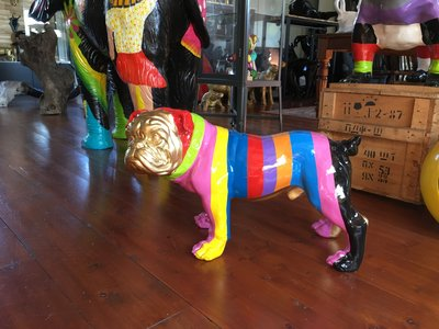 engelse bulldog Ceasar 65cm polyester zebra
