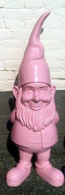 Kabouter-puntmuts-polyester-beeld-90cm roze