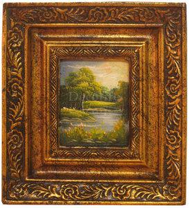 Schilderij incl. Lijst - Landschap Rivierbedding 20x18cm