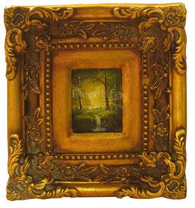 Schilderij incl. lijst - Landschap Waterval 24 x22cm