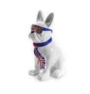 Franse bulldog zittend met bril en stropdas brexit