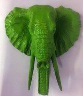 olifant hoofd zilver  polyester 38cm